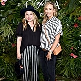 Designers Emily Current and Merritt Elliott coordinated in stripes at the POPSUGAR x CFDA brunch.