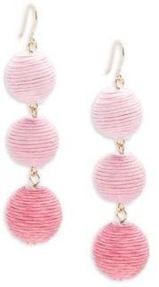 Triple Drop Pom-Pom Earrings