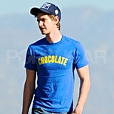 "Andrew Garfield wore a shirt that said ""Chocolate"" for a hike in LA."