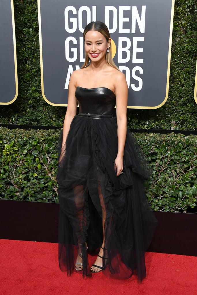 Jamie Chung's Sophia Webster Shoes Golden Globes 2018
