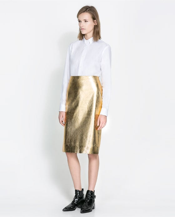 Made of mostly legs, I usually like to keep my skirts short and sweet, but when I spotted this metallic Zara pencil skirt ($139), I knew my exclusive relationship with minis had come to an end. I'll style it with a sheer black blouse and oxblood pumps for work, then funk it up with a concert tee and chelsea boots at night.  — Mandi Villa, contributing editor