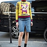 To take your skirt from Summer to Fall, layer on a thick sweater and ankle boots.