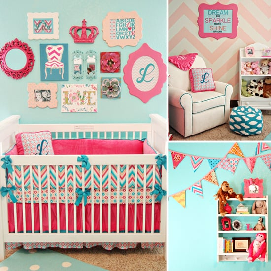 A Bold Aqua-and-Pink Baby Girl's Room