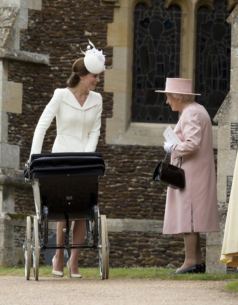 "Kate Middleton, at 5'9"", stands above Queen Elizabeth II."