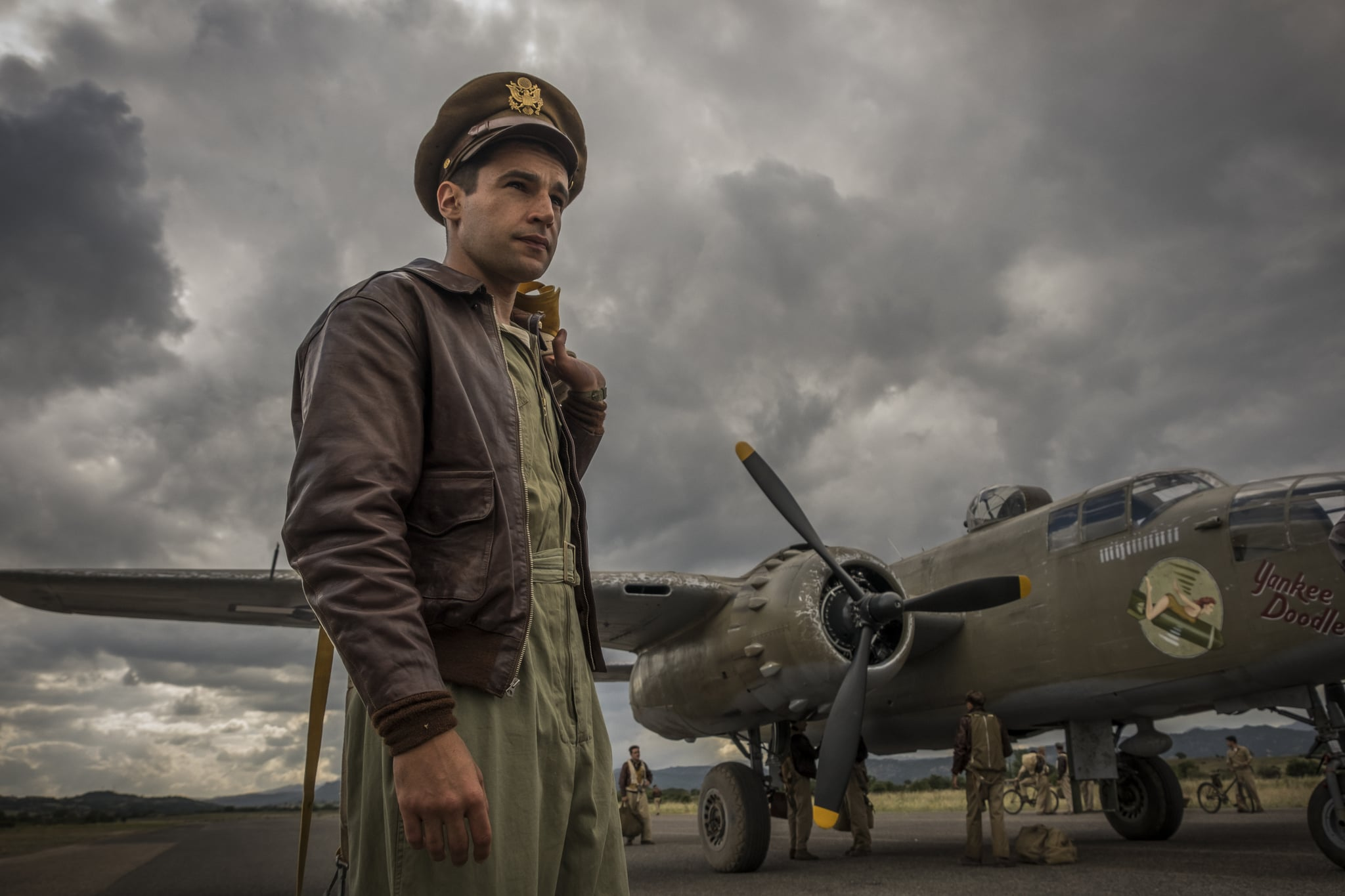 Catch-22 -- Episode 2 -- Yossarian enlists his friends help to get him sent home. Meanwhile Milo Minderbinder, recently appointed mess officer, sees the war in a different light: as an opportunity for profit. The men spend a weekend of R&R in the newly liberated city of Rome. On a seemingly easy mission, Clevingers plane disappears behind a cloud and is never seen again. The men are briefed about their next mission  Bologna  and it looks to be a bad one. Yossarian (Christopher Abbott) shown. (Photo by: Philipe Antonello / Hulu)
