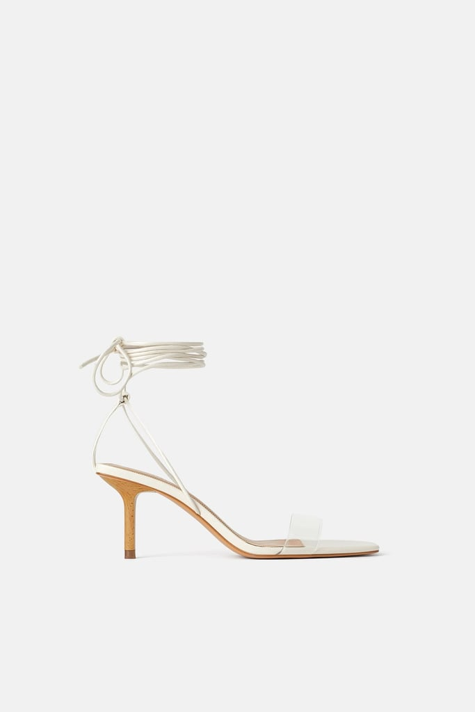 Zara Heeled Sandals With Wood And Vinyl