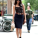 We love that this look is as easy as it is sexy — just belt a curve-hugging tank and pencil skirt and finish with your favorite strappy sandals. Source: Le 21ème | Adam Katz Sinding