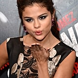 Selena Gomez blew a kiss at the premiere of Getaway in LA.