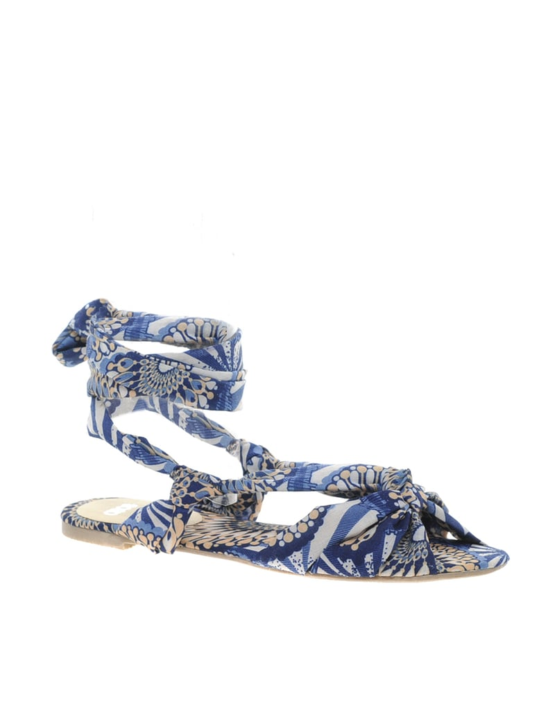 Wrap things up with ASOS's vividly printed sandals ($31).