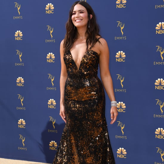 Mandy Moore Gold Rodarte Dress at the 2018 Emmys