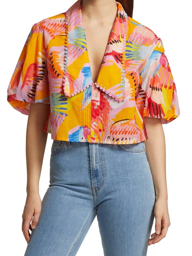 Farm Rio Neon Macaws Collar Puff-Sleeve Blouse