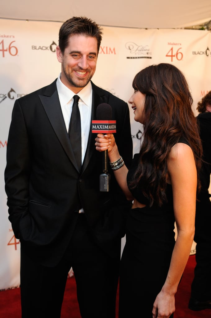 NFL quarterback Aaron Rodgers attended the Maxim and Maker's 46 event on Friday night.
