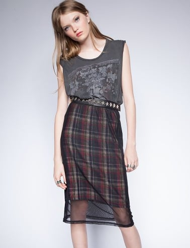 This isn't your schoolgirl plaid — with a touch of sheer, the Pixie Market Mesh Plaid Skirt ($61) feels just a little sexy.