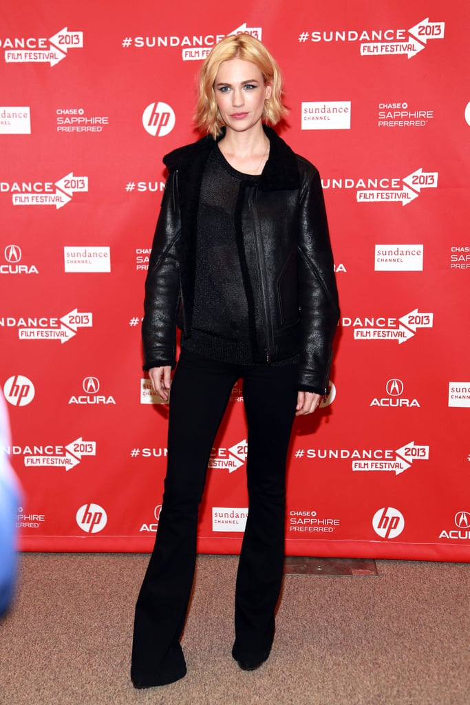 January Jones wore a black outfit to the premiere of Sweetwater on Thursday at the Sundance Film Festival.