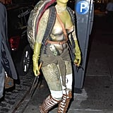 Rihanna dressed as a Teenage Mutant Ninja Turtle in NY in 2014.