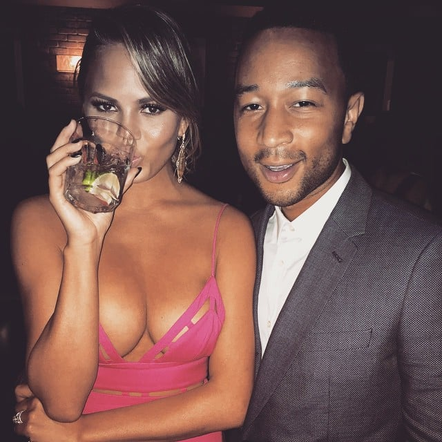 """Referring to her ample cleavage, Chrissy captioned this photo, """"John stole my f*cking golden globes caption,"""" at an afterparty in January 2015."""