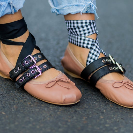 Cheap Gingham Ribbon Shoes