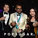 Pictured: Alex Shibutani, Jordan Peele, and Maia Shibutani