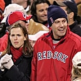 Ben Affleck and Jennifer Garner were in Sox gear for game one of the 2004 World Series in October.