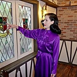 This specially made stained glass features a selection of Dita's favorite symbols.