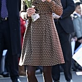 Kate Middleton paired brown tights with an Orla Kiely dress.
