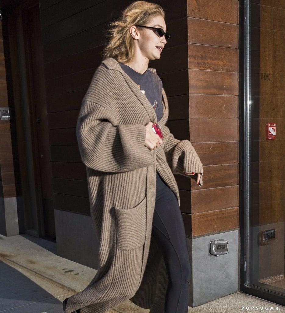 Gigi Hadid's Leggings and Long Sweater