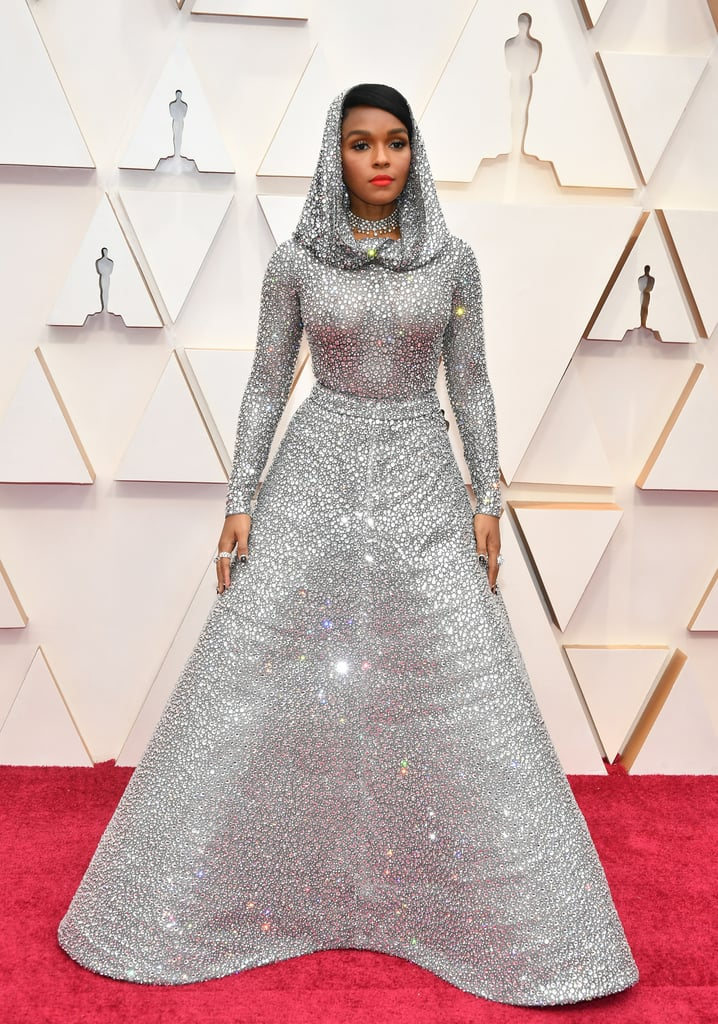 Janelle Monae Silver Cape Ralph Lauren Dress at Oscars 2020