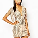 Rare London Plunge Neck Body-Conscious Dress In Paneled Sequin ($99)