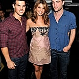 Taylor Lautner, Ashley Greene, and Robert Pattinson (in a vintage What Goes Around Comes Around flannel shirt), all cute and stuff.