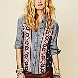 We're obsessed with this chambray-meets-embroidered button-down and we can't help but think this looks like something Isabel Marant would approve of. Free People Chambray Bandana Inset Buttondown Top ($108)