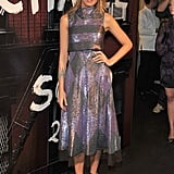 A futuristic sparkly dress looks gorgeous on Blake.