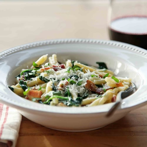 Pasta Carbonara With Spinach