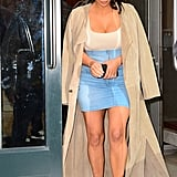 Kim Paired a Denim Skirt With Denim Heels While Out in NYC