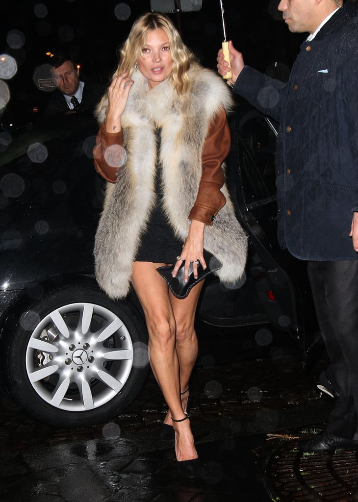 Kate Moss had a big fur vest on.
