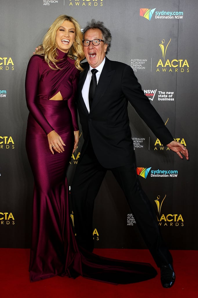 Delta Goodrem had a laugh with Geoffrey Rush at the AACTA Awards in Jan. 2014.