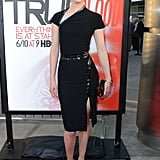 Krysten Ritter showed off her curves in a black, belted dress.