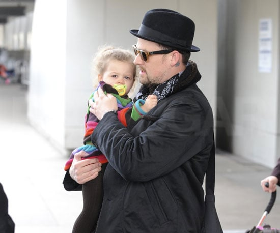 Slide Photo of Joel Madden and Harlow at LAX