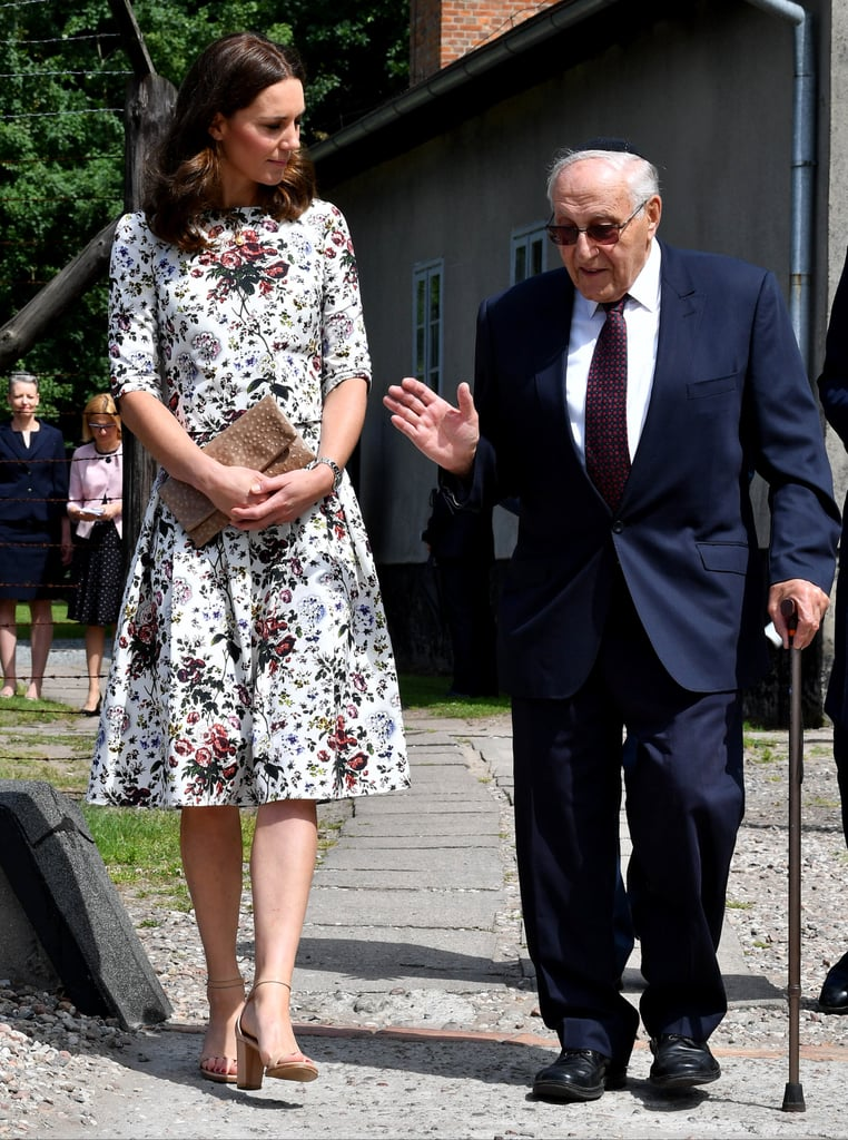 On the second day of the royal tour of Poland and Germany on July 2017, Kate wore a pretty floral dress by Erdem and carried an Etui clutch.