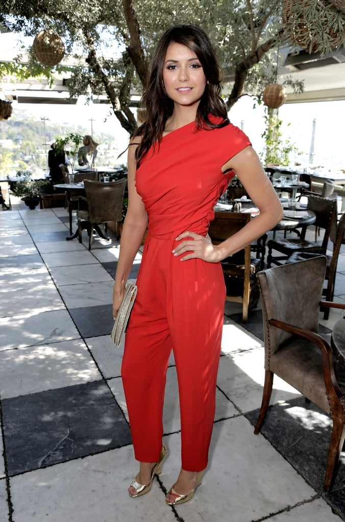 5a9cbc5e196 Nina Dobrev was red hot in her one-shoulder Max Mara jumpsuit