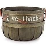 """Give Thanks"" Medium Green Wooden Basket"