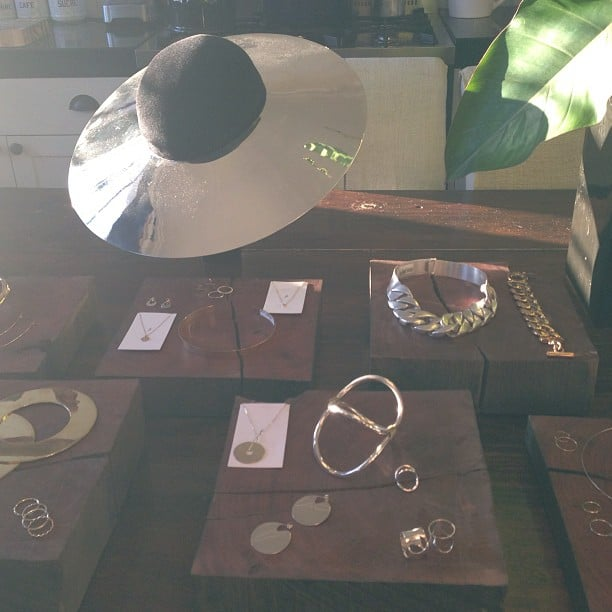 Silver statements from uber talented Sarah & Sebastian. Loving that silver-rimmed hat stealing the show up the back!