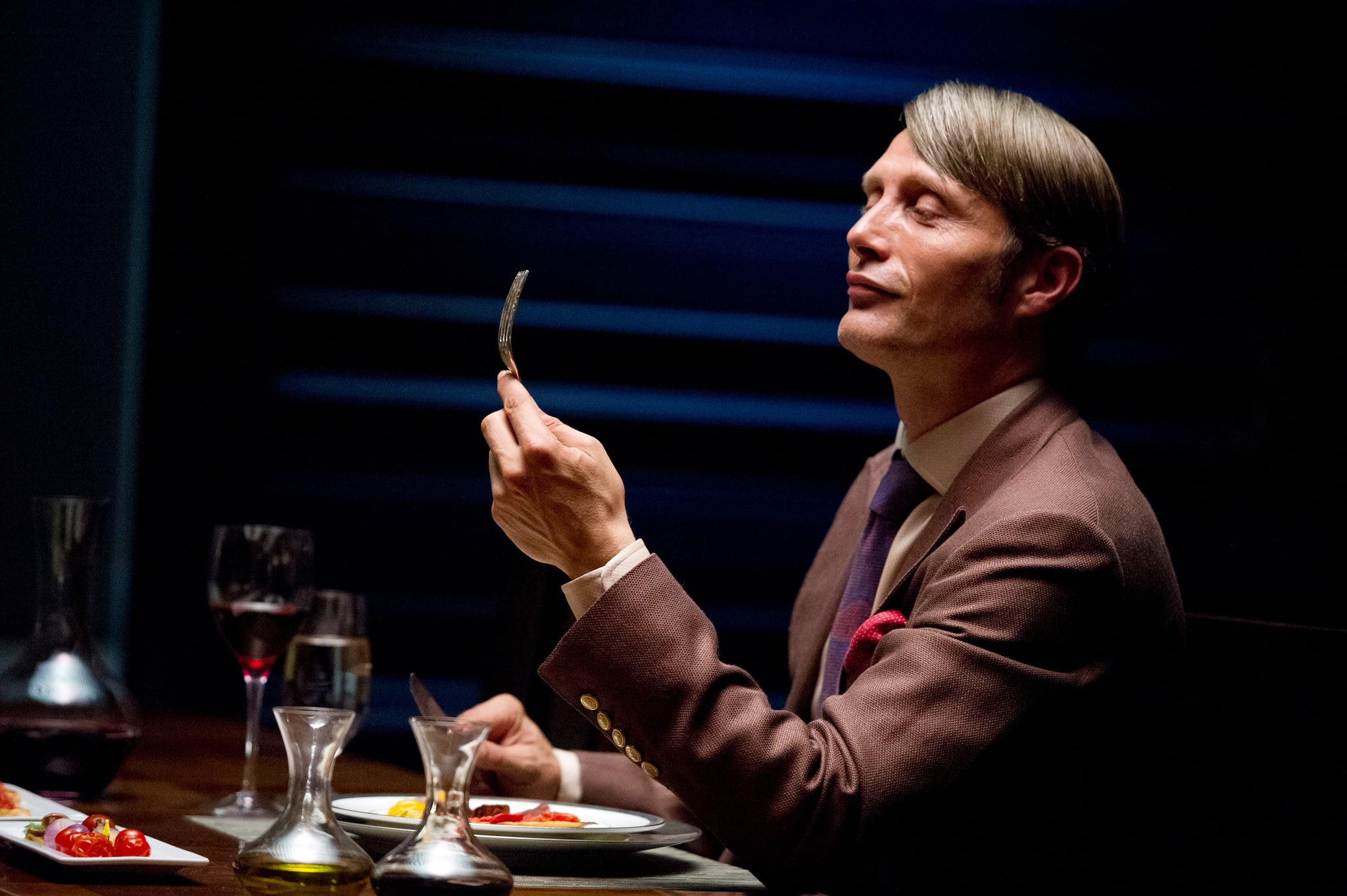 HANNIBAL, Mads Mikkelson in 'Apertif' (Season 1, Episode 1, aired April 4, 2013), 2013-, ph: Brooke Palmer/NBC/courtesy Everett Collection
