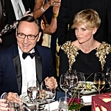 Kevin Spacey and Charlize Theron caught up with friends at the Annenberg Gala.