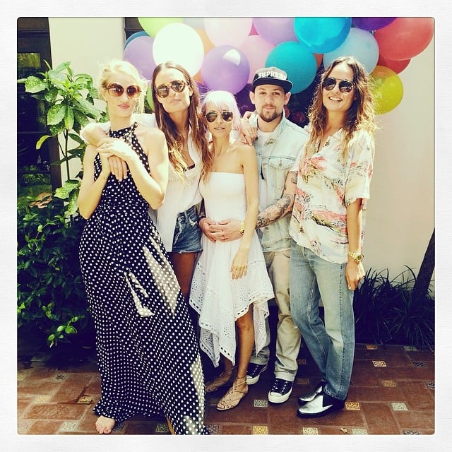 Rosie Huntington-Whiteley celebrated her 27th birthday at a garden party with Nicole Richie, Joel Madden, and stylist sisters Chloé and Marie-Lou Bartoli on Saturday.  Source: Instagram user rosiehw