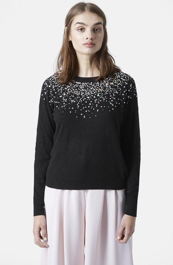 Topshop Embellished Crewneck Sweater
