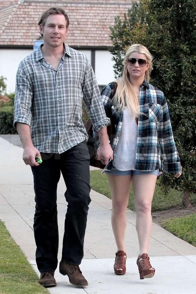 Jessica Simpson and her fiancé Eric Johnson were hand in hand yesterday for a Sunday lunch date in LA. They headed out of the R+D Kitchen and walked to their car, with Jessica showing off her legs in a tiny pair of cutoffs and high heels. She put on a happy face for her latest meal out with Eric, though things with her family have been difficult lately since her sister Ashlee filed for divorce from her husband Pete Wentz. Jessica has business to keep her busy, though, and just launched a six-piece prom collection with David's Bridal.