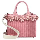 Prada Midollino Floral-Embellished Wicker & Canvas Tote