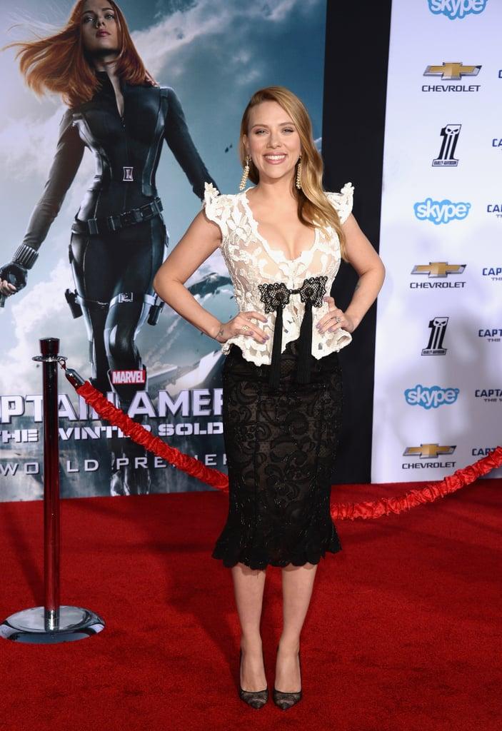 Scarlett Johansson at the LA Premiere of Captain America: The Winter Soldier, 2014