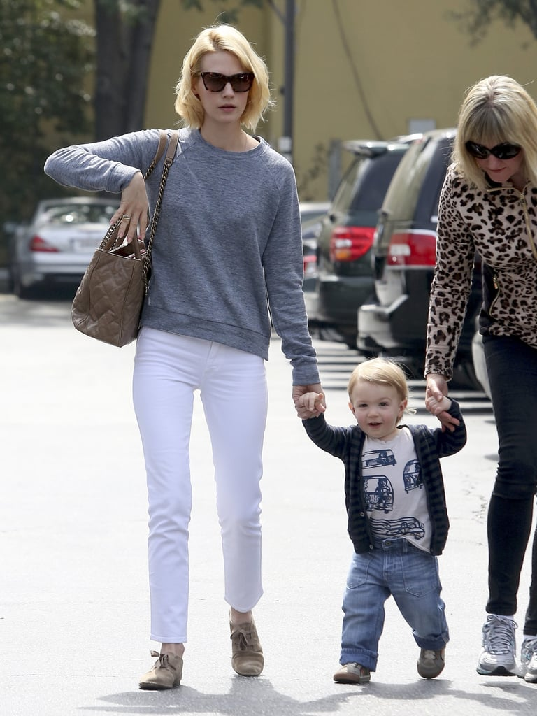 January Jones went to lunch with her son, Xander, and mom in LA on Monday.