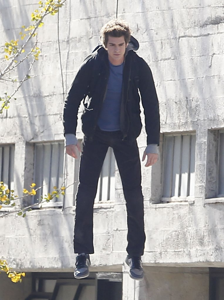 Andrew Garfield Dangles High Above the LA Streets For Spider-Man